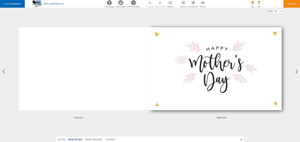 Karte zum Selbstgestalten: Muttertagskarte Vorder- und Rückseite.