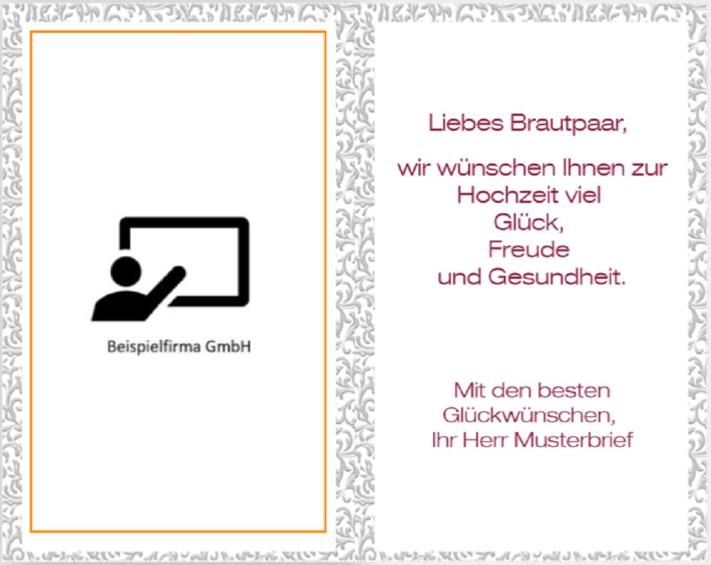 Glückwunschkarte zur Hochzeit Rosen-Glück vom Raab-Verlag Innen