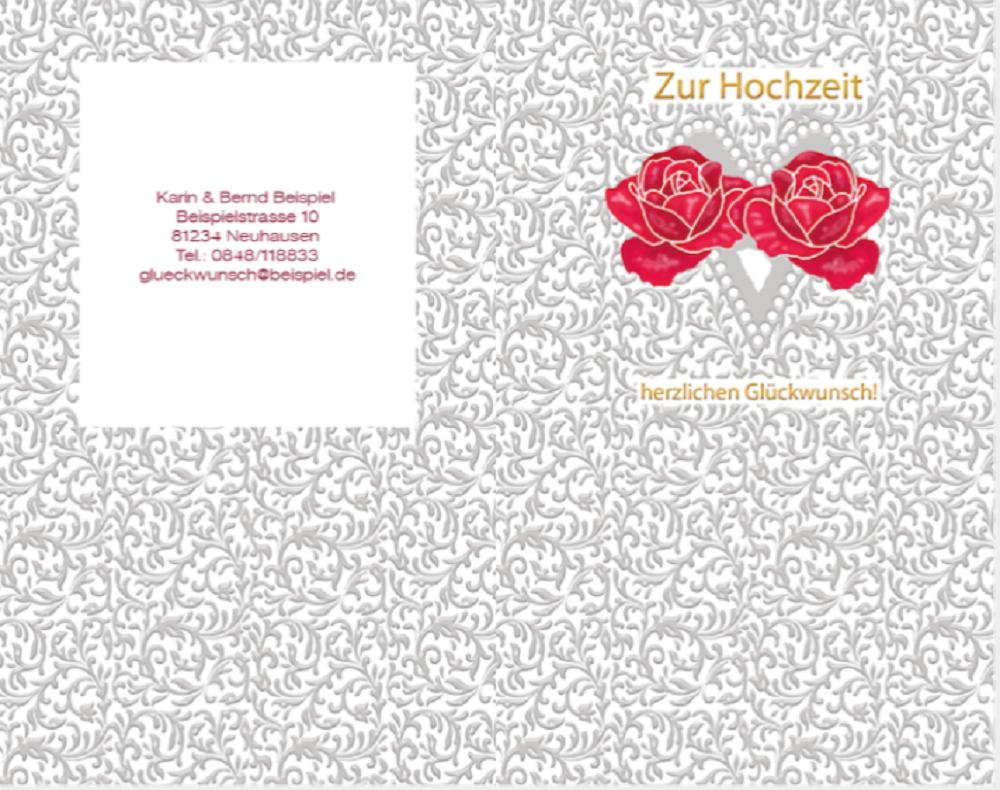 Glückwunschkarte zur Hochzeit Rosen-Glück vom Raab-Verlag Vorderseite