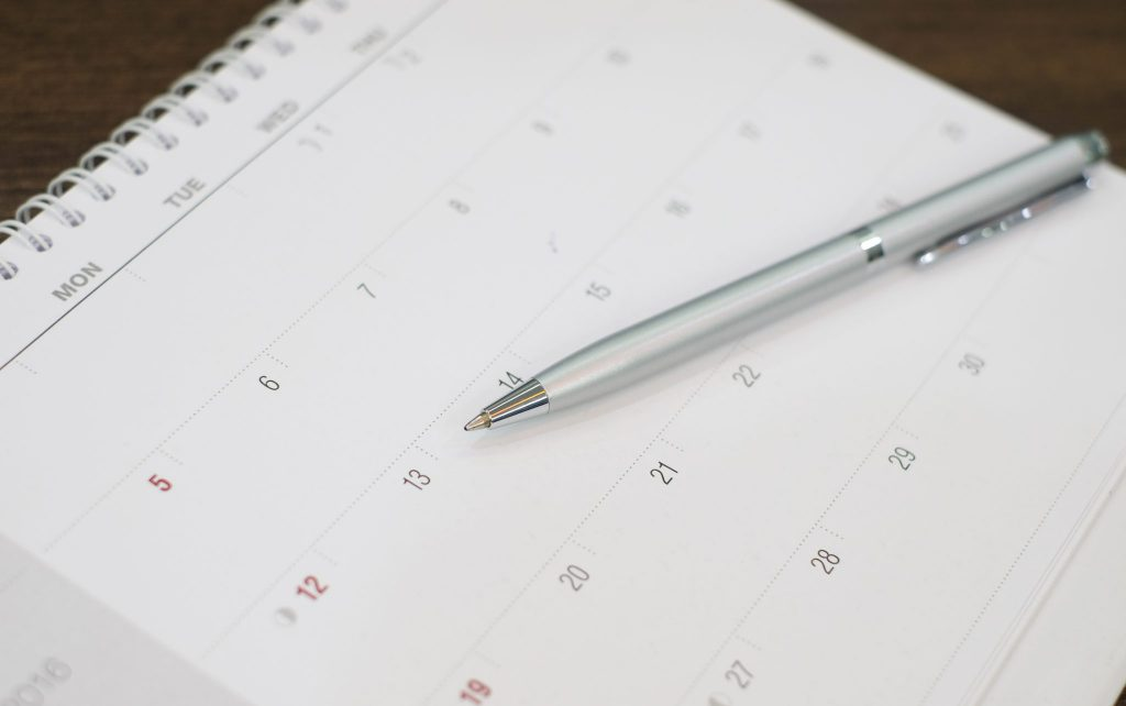Kalender für die Planung des Firmenjubiläums