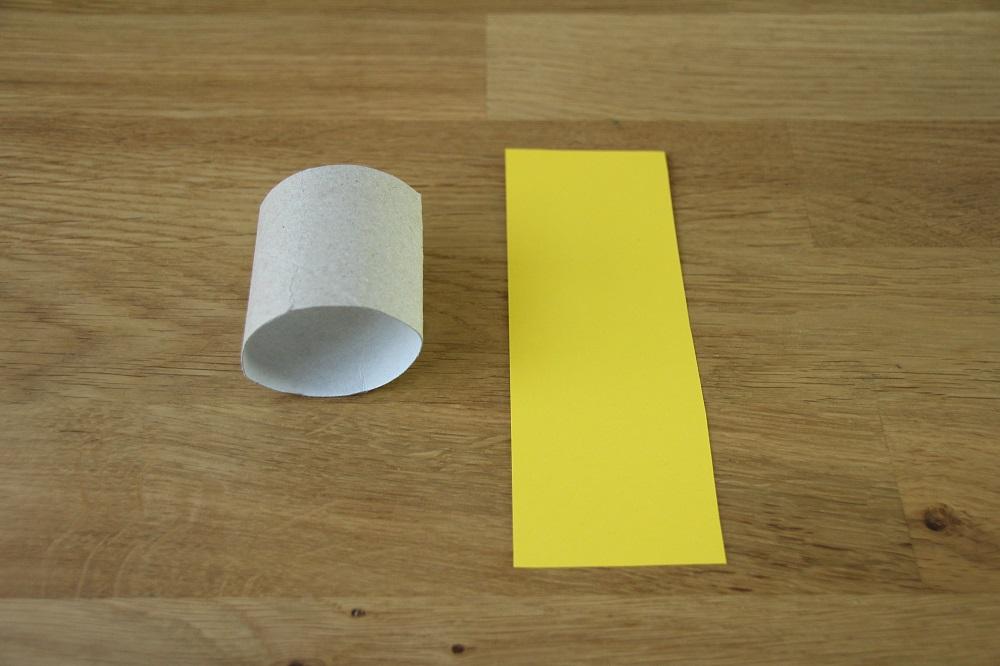 Bastelmaterial vorbereiten für Klorollen-Eierbecher
