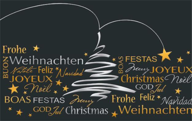 Weihnachtskarte mit Aufschrift in verschiedenen Sprachen