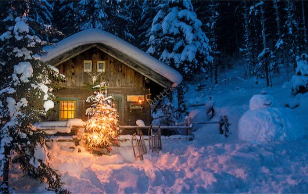 winterliche Weihnachtskarte 2020 mit verschneiter Berghütte