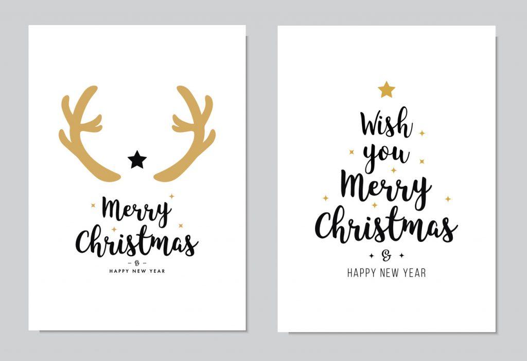 Rentier- und Tannenbaumweihnachtskarten-Motiv aus Wörtern selbst gestaltet