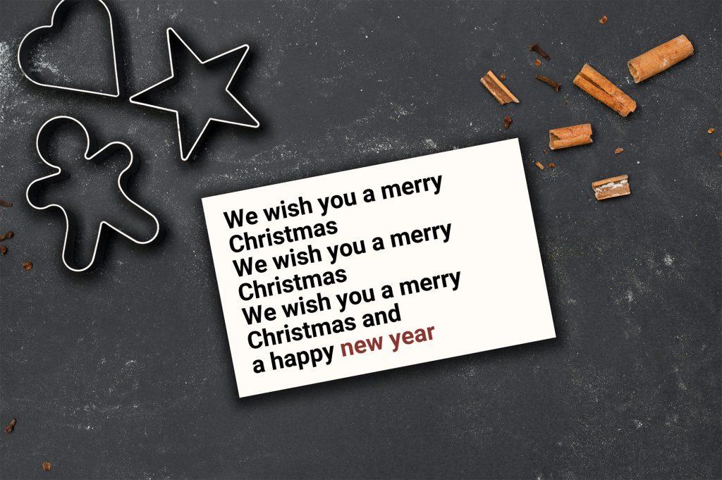Selbstgestaltete Typografie-Weihnachtskarte.