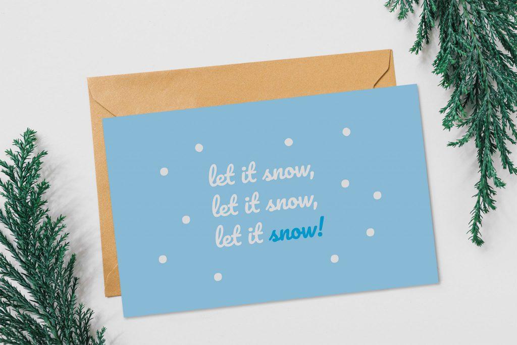Weihnachtskarte mit Schneeflocken selbst gestaltet.