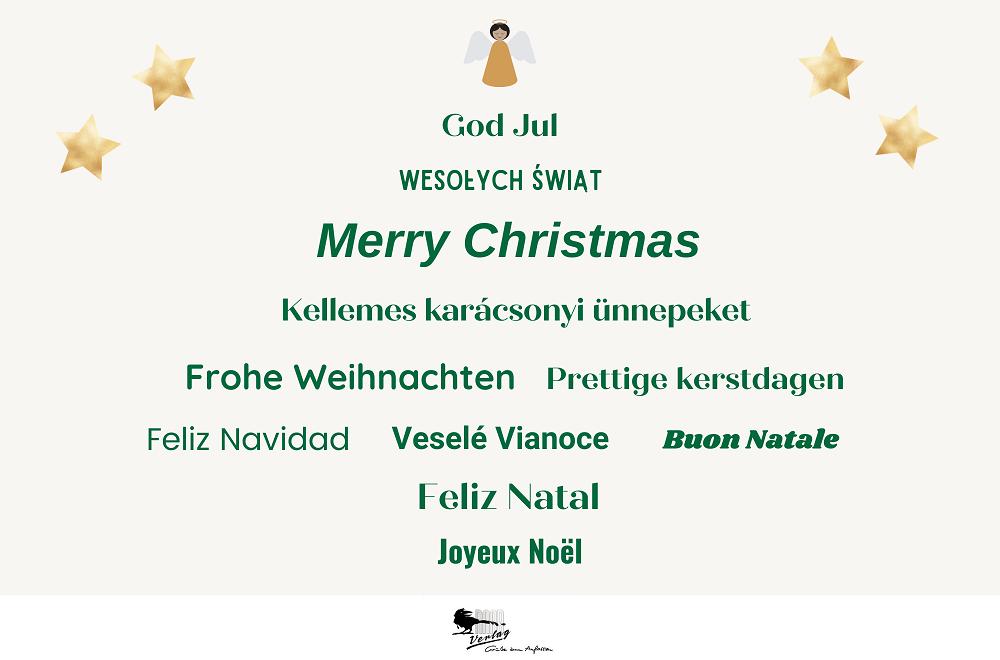 Internationale Weihnachtswünsche in Form eines Weihnachtsbaums