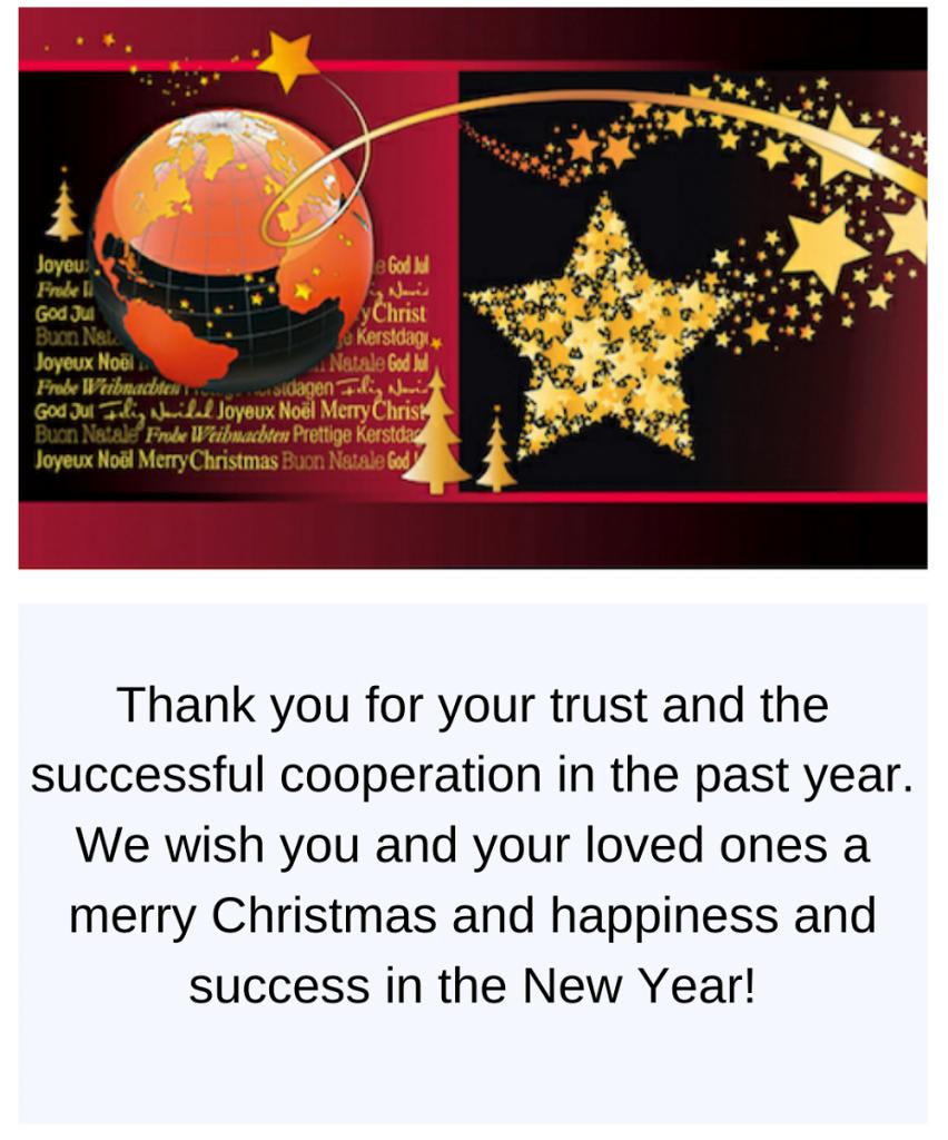 geschäftliche Weihnachtsgrüße auf Englisch