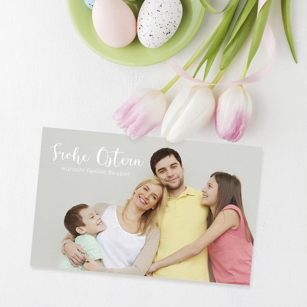 selbst gestaltete Osterkarte mit Foto der Familie