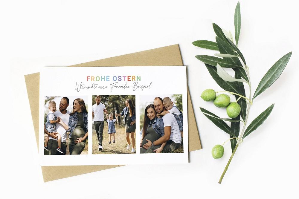 moderne Ostergrußkarte mit Familienfotos