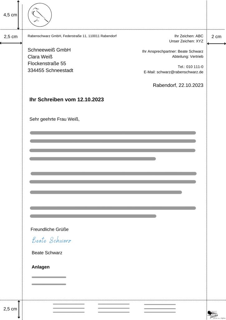 Muster-Beispiel eines geschäftlichen Briefes