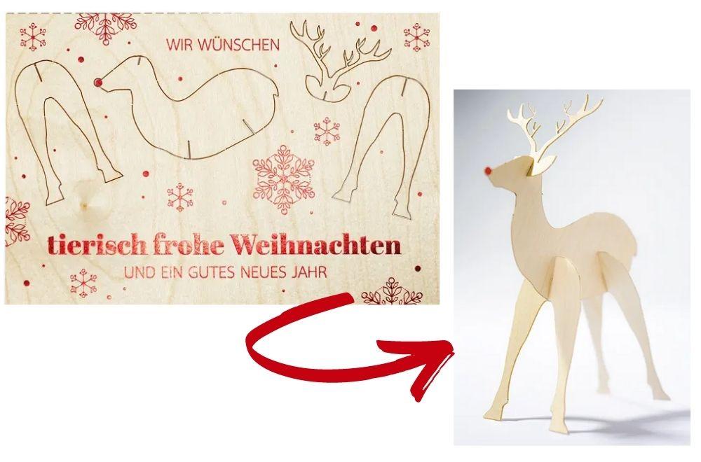 Weihnachtliche Holzkarte wird zu Deko