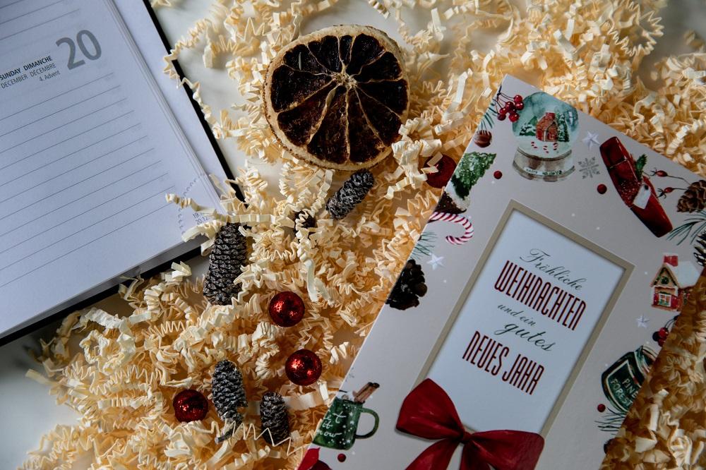 Weihnachtskarte und Kalender