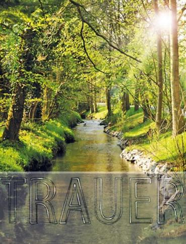 Trauerkarte mit Motiv Fluss im Wald