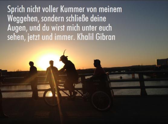 Bild mit Sonnenuntergang und Zitat von Khalil Gibran