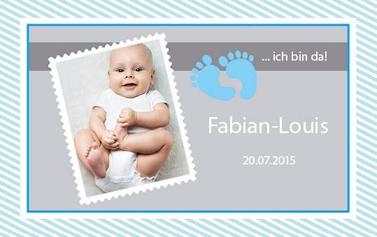 Karte mit Baby-Bild und Name