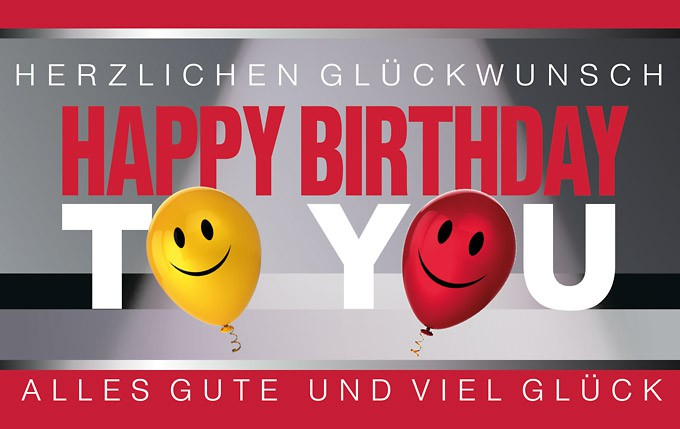 Happy-Birthday Karte mit Luftballons