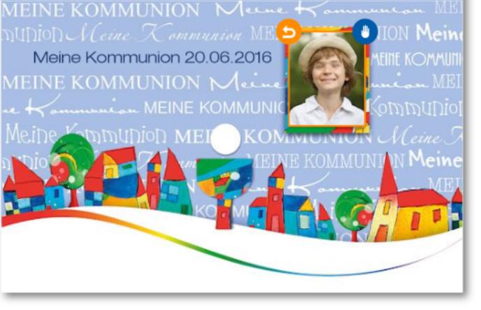 Einladungskarte mit Text und Bild
