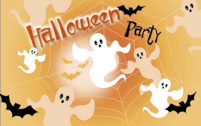 Einladungskarte zu Halloween mit Geistern