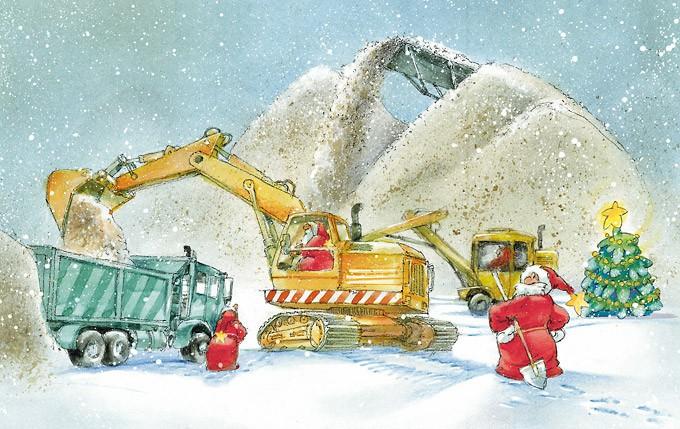 Zeichnung: Weihnachtsmänner auf einer Baustelle