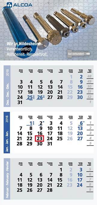 Ansicht eines individuell gestalteten Kalenders.