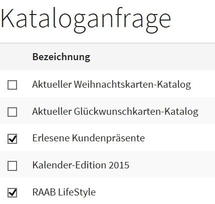 Screenshot einer Kataloganfrage