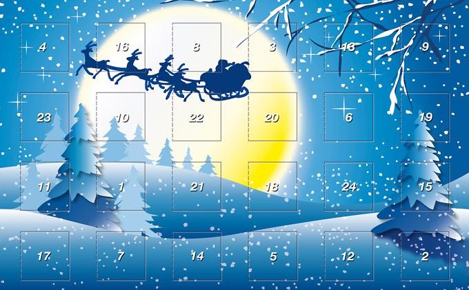 Adventskalender mit Bild vom Weihnachtsschlitten