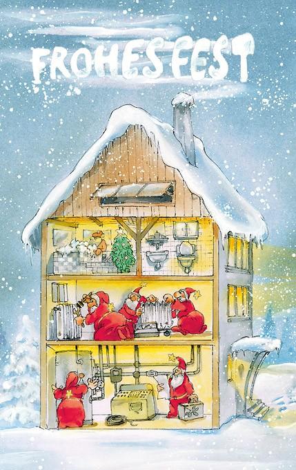 Weihnachtsmänner als Klemptner